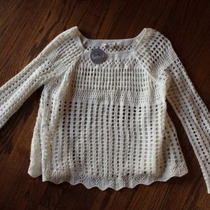 Creme Open Weave Sweater S